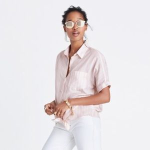 Madewell Tie Front Shirt in Pink Stripe Medium NWT
